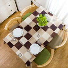 New PVC odorless waterproof and oilproof tablecloths Plaid table mat American Imitation leather texture six seat table cloth(China)