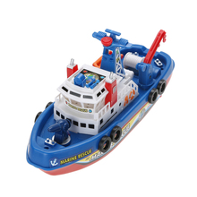 High Speed Children Marine Rescue Toy Boat Fire Boat Electric Boat Children Electric Navigation Non-remote Warship Boat Gift(China)