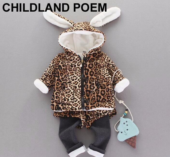 Winter baby girls clothes leopard rabbit baby girls clothing set jackets+pants 2 pcs princess velvet warm newborn baby clothes<br><br>Aliexpress