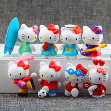8Pcs Hello Kitty Figurines Fairy Garden Kitty Miniatures Gnomes Terrarium Figurines Miniature Fairy Mini Garden Resin Craft Cat