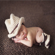 Western Cowboy Baby Hat Photography Prop Baby Infant Crochet Knitted Costume Cap Stylish Warm