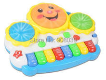 Free Shipping Animal Farm Piano Music Toy Light-up Music Smile Hand Drum Childhood Learning Toys Musical(China)