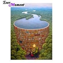 Ever Moment DIY Diamond Painting Cross Stitch Bookshelf Corner Forest River Relax Reading Time Mosaic Rhinestones ASF987