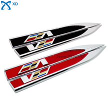 V Logo Red Black Metal Emblem Sticker  Side Fender Decal Shape Blade Knife Badge For Cadillac CTS SRX Escalada BLS XT5 CT6 XTS