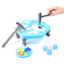 Mini Puzzle Table Games Penguin Ice Breaking Balance Ice Cubes Knock Ice Block Wall Toys Desktop Paternity Interactive New Game