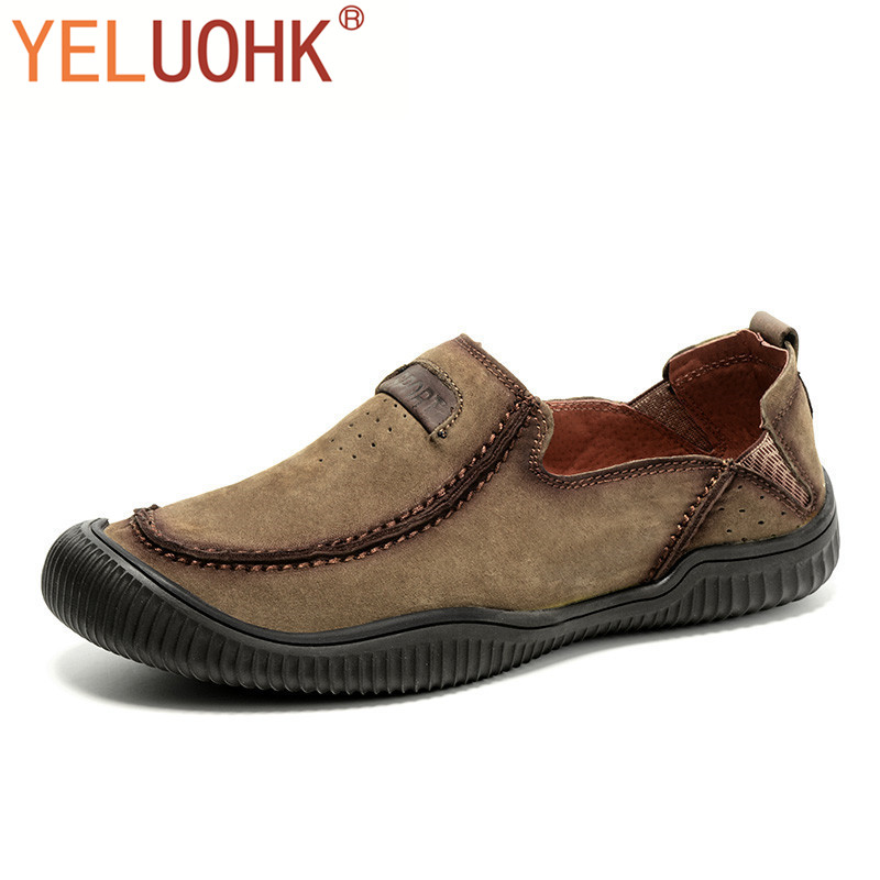Natural Suede Moccasins Men Loafers Soft Brand Men Shoes Casual Breathable Leather Shoes Men High Quality<br>