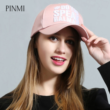 PINMI 2017 Embroidered Letter Women Baseball Caps Pink Black Breathable Light Sun Snapback Caps Women Men Cotton Casual Hat Gift