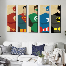 Oil Painting Watercolor Art Prints Poster Hipster Wall Picture Canvas Painting Cartoon Superman Kids Room Home Decor 5PCS