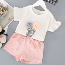 Girls Clothing Sets Kids Clothes 2017 Summer New Ice Cream Short-sleeved T-shirt +Pocket Shorts Suits Children's clothes