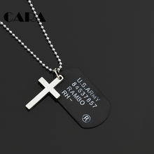 CARA New Plated Zinc Alloy Silver color Cross & God tag charm necklace men cool trendy army soldier pendant necklace CAGF0377(China)