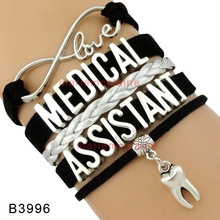 (10 PCS/lot) High Quality Infinity Love Medical Assistant Bracelet Tooth Charm Bracelet Black Silver Women's Fashion Bracelet