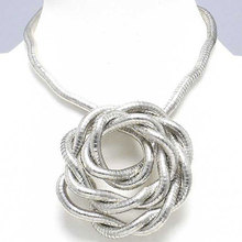 Manufacture 5mm 90cm White K Plated Iron Bendable Flexible Bendy Snake Necklace,1pcs/pack