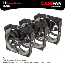 ALSEYE 90mm fan for computer case / cpu cooler Fan radiator (3pieces) silicone silent DC 12v 3pin 1500 RPM cooling fan