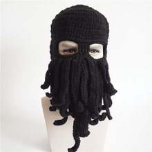 Mens Womens Funny Sea Creature Hat Crochet Cthulhu Squid Octopus Beanie Hats Ski Mask Knit Bread Black Gray Yellow Navy Green