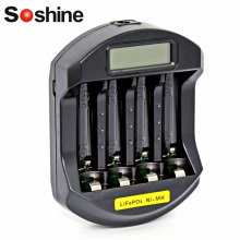 Soshine LCD Display Rapid Charger LifePO4 Ni-Mh 14500 10440 AA AAA NIMH Rechargeable Battery charger 4 slots Fast Quick Charger