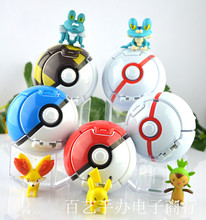Kwaii Pokemoning ball+random action figure kids toys 6 kind Pokemoning ball(size 7cm)+144 kinds random figures(size 3-5cm)(China)