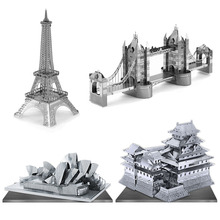 3D Puzzle Metal Earth Laser Cut Model Jigsaws DIY Gift World's Famous Building Eiffel Tower Big Ben Tower of Pisa Toys