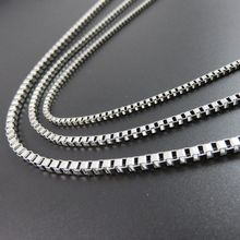 2/2.4/3mm Customizes Stainless Steel Silver Box Link Chain Fashion Men's Women's Jewelry 40cm 45cm 50cm 55cm 65cm 75cm 85cm 90cm