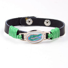 NCAA Florida Gators Team Logo Charms Leather Bracelets Bangles Adjustable Mens Black Leather Bracelets For Women Jewelry(China)