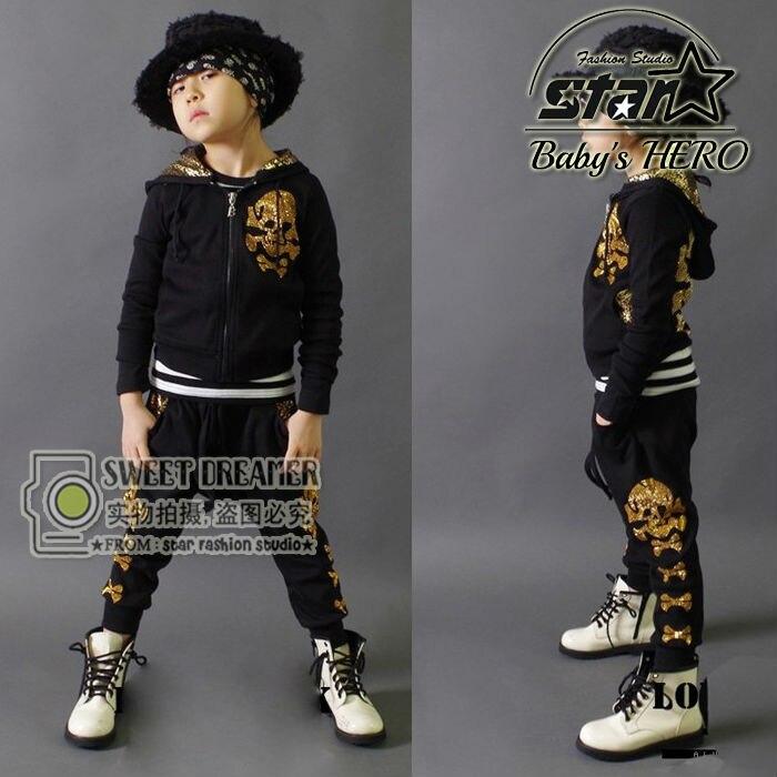 2018 Spring Autumn Kids Clothes Sets Children Casual 2 PCS Kids Skull Clothes Sets Hip Hop Childrens Cotton Harem Pants Boys <br>