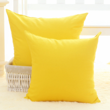100% cotton & canvas  solid color cushion cover pillowcase for sofa yellow/blue/khaki/red/pink/green/brown