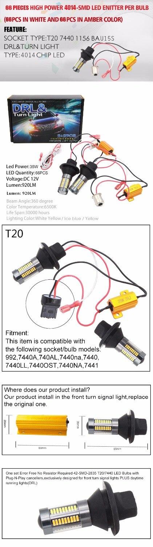 AMBER//WHITE Pair T20 7443 7440 96led Switchback Bulbs Built In Load Resistor