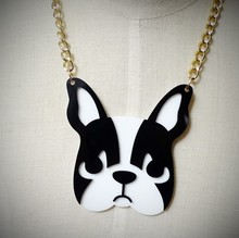 Fashion Personality Metal Chain Big Dog Acrylic Pendant Necklace Punk Night Club Jewelry Accessories