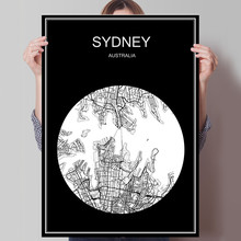 Black White City Map of Sydney Australia Print Poster Print on Paper or Canvas Wall Sticker Bar Cafe Living Room Home Decor(China)