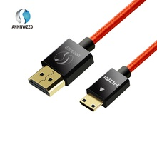 Mini HDMI plug (Type C) to HDMI plug (Type A) cable 1.4a Real 3D and Ethernet capable suitable for Full HD 3D 1080P(China)