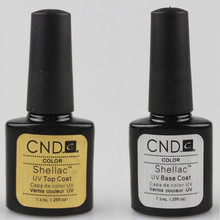 Free shipping 2016 HOT SALE 2pcs/lot CNDs New Shellacs UV Gel Polish Base Coat Nail Gel Top Coat .25oz/7.3ml bonder +LED topcoat