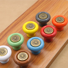 10Pcs/Lot Vintage Round Ceramic Porcelain Kitchen Cabinet Hardware Drawer Chest Wardrobe Pull Handle Knobs