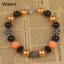 Vcmart 3pcs Vintage Holiday Necklace Witches and Goblins Orange&Black Beaded HALLOWEEN Chunky Necklace Kids Girls Jewelry