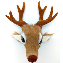 Simulation Animal Deer head Plush Genuine Leather Toy Plush Doll Toy For Kids Birthday Gift