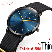 OLEVS Simple Ladies Watches Top Brand Colorful Canvas Watchband Ultrathin Dail Gold Student Wristwatch Women Clocks Gifts L5868B(China)