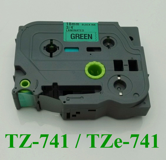 "2/3"" 18mm laminated tz tape tz741 black on green tz-741 tze 741 label tape for p touch"