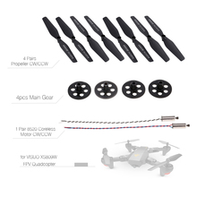 4pcs Main Gear 4 Pairs Propeller CW/CCW and 1 Pair 8520 Coreless CW/CCW Motor for VISUO XS809W XS809HW FPV Quadcopter