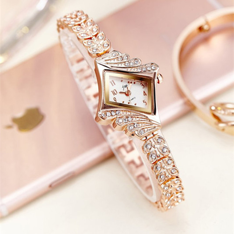 2017 JW Top Brand Women Bracelet Watches Luxury Rhinestone Gold Dress Watch Women Fashion Casual Alloy Quartz Wristwatches JW061<br><br>Aliexpress