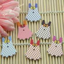 Buy Color mined lovely dress wood buttons children craft scrapbooking decor accessories 30mm*23mm 10pcs/lot 2 holes for $6.25 in AliExpress store