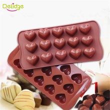 Delidge 1 pc 15 Holes Heart Shape Chocolate Molds DIY Silicone Cake Decoration Jelly Ice Love Gift Chocolate Molds Baking Tools