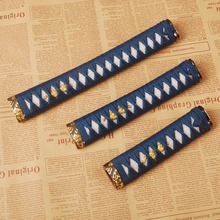 Delicate and Classic A Set of Handle Tsuka for Japanese Sword Katana Wakizashi Tanto Blue Silk Ito & White Rayskin & Alloy Fuchi