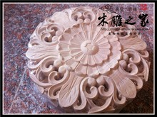 Dongyang woodcarving flower floral applique European round patch carved wood furniture solid wood cabinet door FLOWER FLOWER FLO(China)
