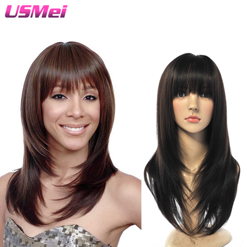 synthetic wigs with bangs 20black straight wigs natural hair kyliejenner cheap wig best natural looking wigs perruque femme<br><br>Aliexpress