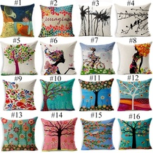 Cushion Cover Flower Pillow Case Cotton Linen Girl Floral Animal Tree of Life Bird Back Home Decorative Throw Pillow Cover(China)