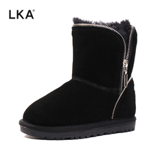 LKA Top quality Children Boots Winter Genuine leather Boy and girls Fashion snow boots Kids warm Shoes for winter Size 25-33(China)