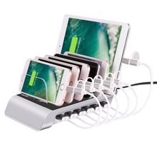 6 Port USB Charging Station Multi Quick USB Charger Dock Station With Stand Power Adapter For iPhone, iPad, Android