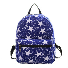 Printing Stars Blue Backpacks Fashion Hot Men Women Boys Girls Mochila Rucksack Canvas Bags Casual School Travel Shoulder Bag
