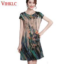 Large Size Natural Silk Dresses 2017 Summer Women's Retro Luxury Long Loose Plus Size Flower Print Natural Silk Dress L-4XL A362