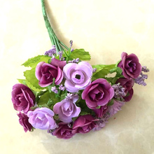 21 Head Decoration Rose Silk Artificial Flower Real Touch Wedding Bouquet Home Party Supplies Design Craft DIY Purple Flowers