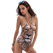 One Piece Swimsuit Women S-XL Wire Free Chest Pad 3D Print Monokini Quick Dry Breathable Sexy Swimwear Women Lion Wild Trikini