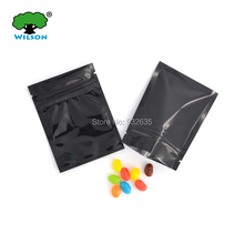 "3"" x 4"" inches 7.5x10cm 100pcs/lot Top fill black color pouches zip lock foil bag smell proof for food(China)"